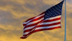 American flag at sunrise